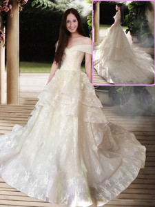 New Style A Line Court Train Wedding Dress With Off The Shoulder