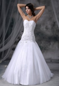 Stanton Iowa Lace With Beading Tulle Sweetheart Chapel Train Tulle Wedding Dress