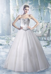 Puffy Sweetheart Floor Length Wedding Dress With Beading