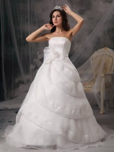 Affordable Strapless Court Train Organza Handle Flowers Wedding Dress