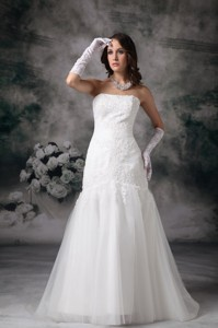 Perfect Mermaid Strapless Brush Train Tulle Lace Wedding Dress