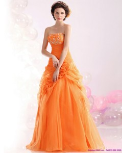 Luxurious Strapless Orange Red Prom Dress With Hand Made Flowers And Beading