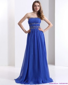 Delicate Strapless Prom Dress With Ruching And Beading