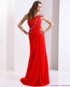 Elegant One Shoulder Red Prom Dress With Beadings And Brush Train