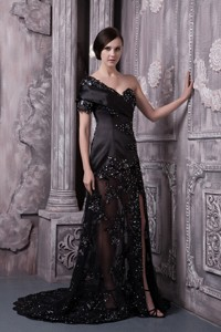 Black Mother Of The Bride Dress Column One Shoulder Brush Train Lace Beading