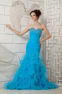 Sky Blue Prom Dress For Custom Made Sweetheart Organza Beading Brush Train