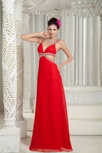 New Red Empire Evening Dress Straps Chiffon Beading Floor-length