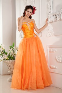 Popular Orange Prom Evening Dress Sweetheart Organza Appliques Floor-length