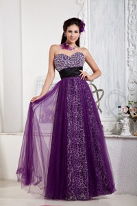 Affordable Purple Empire Prom Dress Sweetheart Tulle and Leopard Beading and Bow Floor-length