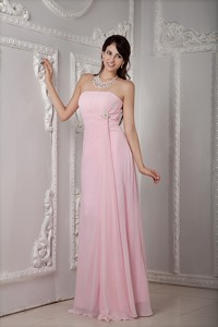 Cheap Baby Pink Prom Dress Empire Strapless Chiffon Beading Floor-length