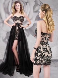 Elegant Tulle Black Detachable Prom Dress with Appliques and Beading