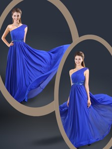 Cheap One Shoulder Blue Prom Dress With Belt