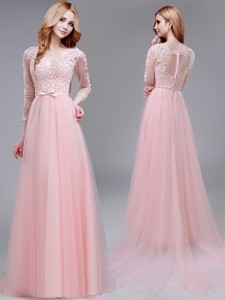 See Through V Neck Three Fourth Length Sleeves Prom Dress with Lace and Bowknot