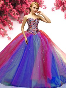 New Style Beaded Really Puffy Sweet 16 Dress in Rainbow