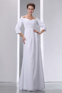 Popular Empire Off The Shoulder Floor-length Chiffon Beading and Ruch Wedding Dress