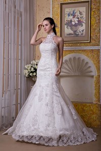 Custom Made Mermaid Halter Brush Train Taffeta and Lace Wedding Dress