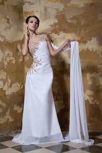 Simple Column One Shoulder Brush Train Chiffon Beading Wedding Dress