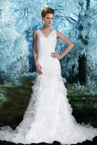 Gorgeous Column V Neck Court Train Wedding Dress With Ruching