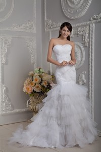 Affordable Mermaid Sweetheart Court Train Tulle Beading and Ruch Wedding Dress