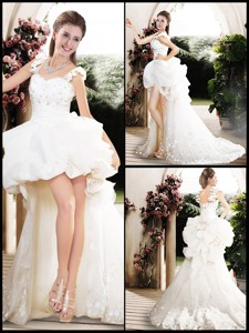 New Style High Low Straps Wedding Dress With Appliques