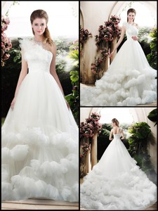 Popular One Shoulder Wedding Dress With Appliques And Ruffles