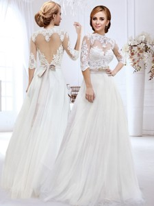 Discount Belted and Laced High Neck Wedding Dress with Side Zipper