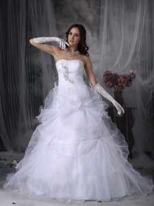 Luxurious Strapless Court Train Taffeta And Organza Beading Wedding Dre