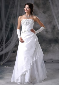 Vinton Iowa Appliques With Beading Decorate Up Bodice Taffeta And Organza Floor-length Wedding
