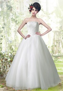 Beautiful Ball Gown Strapless Lace Up Beading Wedding Dress