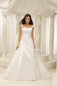 Square Neck Embroidery With Beading On Satin White Wedding Dress