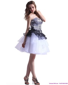 Zebra Printed Sweetheart White Prom Dress With Ruffled Layers