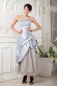 Lilac Column Strapless Ankle-length Satin and Tulle Beading Prom Dress