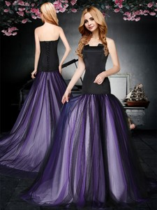 Popular Strapless Purple and Black Prom Dress with Brush Train