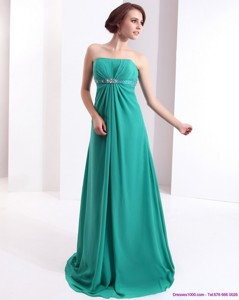 Affordable Strapless Brush Train Prom Dress With Beading And Ruching