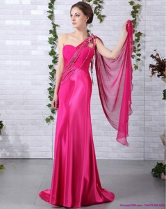 Elegant One Shoulder Fuchsia Prom Dress With Beading And Ruching