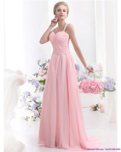 Remarkable Baby Pink Prom Dress With Brush Train And Ruching