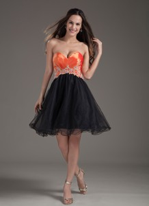 Orange Red And Black Sweetheart Mini-length Organza Appliques Prom Dress