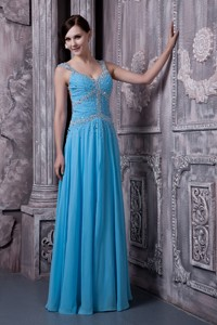 Discount Aqua Blue Evening Dress Empire Straps Chiffon Beading Floor-length