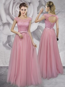 Gorgeous Scoop Cap Sleeves Laced Prom Dress in Pink