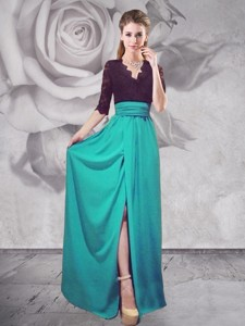 Half Sleeves V Neck Turquoise Prom Dress with Lace and High Slit
