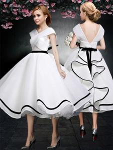 Cheap V Neck Cap Sleeves White and Black Prom Dress in Tea Length