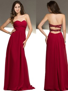 Wonderful Empire Wine Red Chiffon Prom Dress with Beading