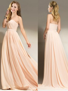 New Style Belted Chiffon Peach Prom Dress with Brush Train