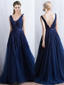 Cheap Applique and Belted Navy Blue Prom Dress with Brush Train