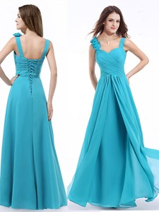 New Arrivals Straps Hand Made Flowers Prom Dress in Aqua Blue