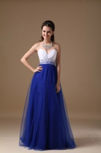 White and Royal Blue Sweetheart Prom Dress Floor-length