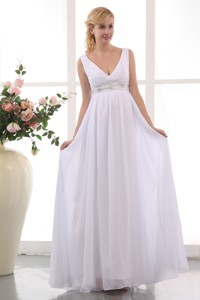 Populor Empire V-neck Ankle-length Chiffon Beading Maternity Dress