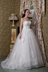 Elegant Sweetheart Brush Train Taffeta And Lace Wedding Dress