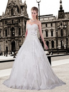 Elegant A Line Sweetheart Court Train Wedding Dress With Appliques