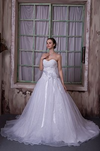 Modest Sweetheart Chapel Train Taffeta And Organza Appliques And Hand Made Flower Wedding Dre